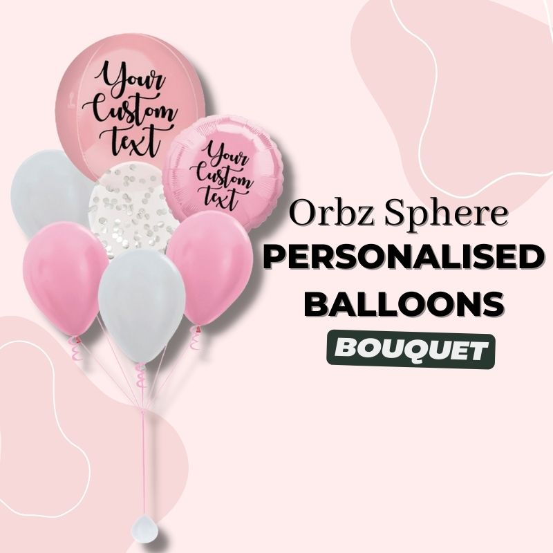 Orbz Sphere Personalised Balloons Bouquet by Give Fun Singapore Party Balloons