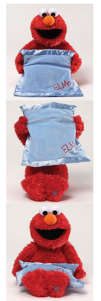 Peek a Boo Elmo switch adapted toy for people with disabilities.