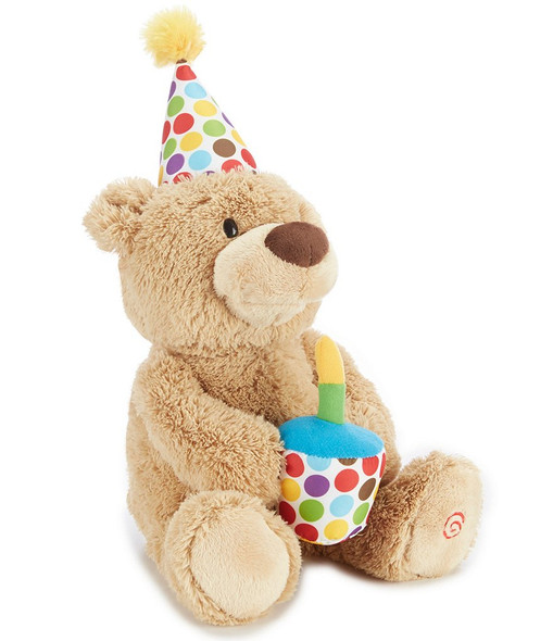 Animated birthday bear switch adapted for people with disabilities.