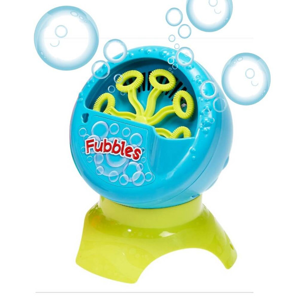Switch adapted bubble blower lets kids with disabilities blow bubbles. Shown in blue.