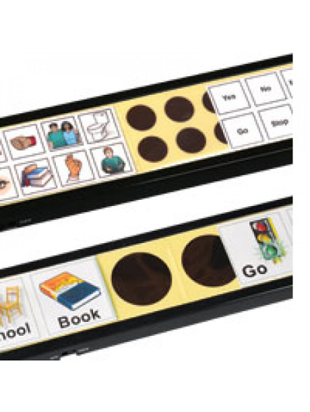 Slide pictures over buttons to create your own communication sets.