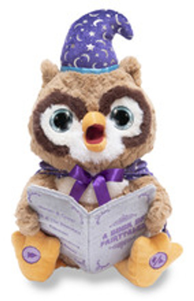 Octavius the  storytelling owl recites 5 popular children's stories while his eyes light up and his head moves.