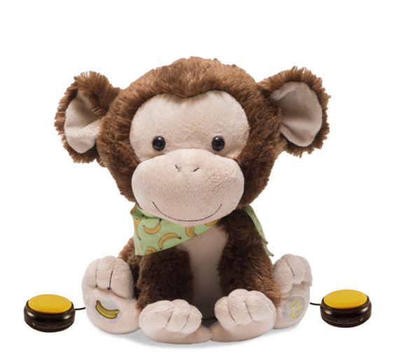 My Monkey Marvin switch adapted plush that sings and plays a game.