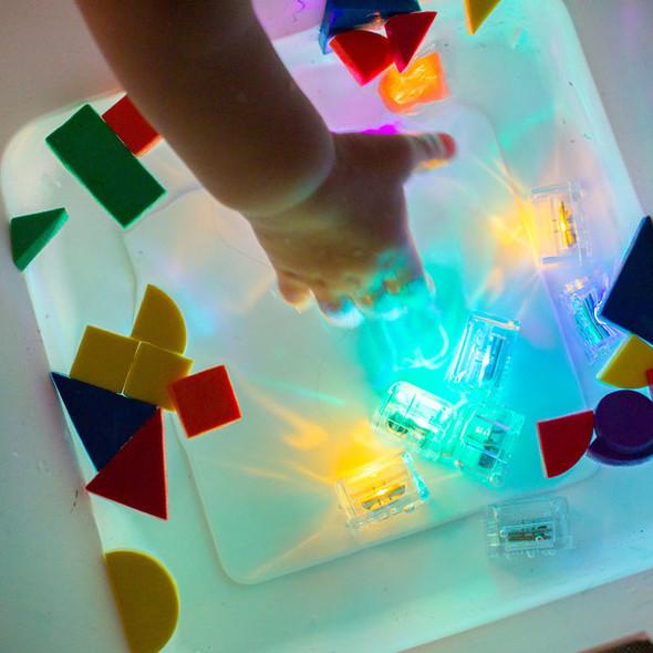 Glo Pal light up cubes in sensory water bin