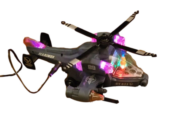Switch adapted Camo Copter bump n go toy for people with disabilities.