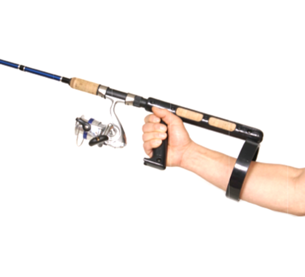 RoboHandle grip makes it easier to hold onto your fishing pole.