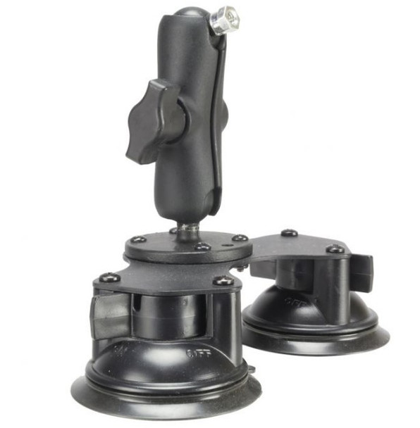 Suction mount accepts 1/4-20 male threaded mounting plates