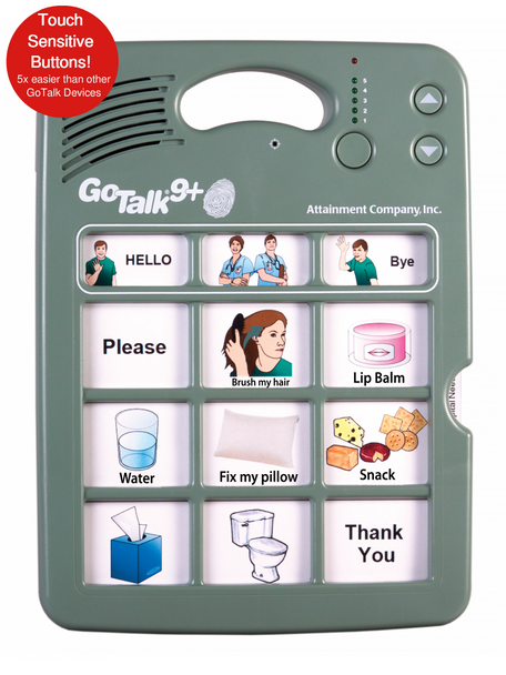 Go Talk 9+ Lite Touch requires less pressure to activate buttons