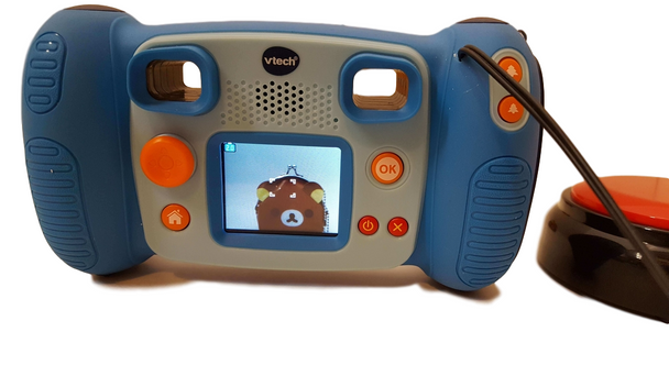 Camera adapted with jack to accept a swtich for kids with disabilities