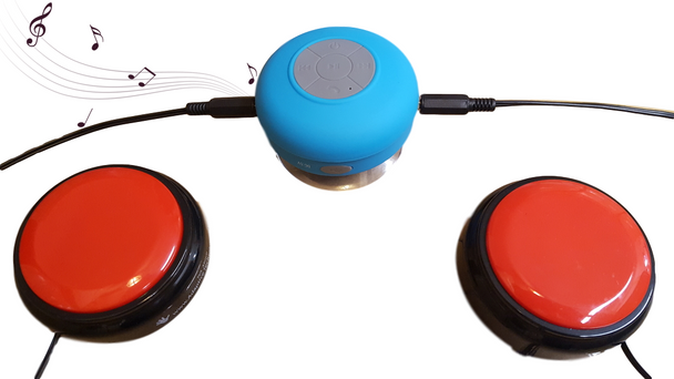 Bluetooth wireless switch adapted speaker lets people with disabilities control their music and video.
