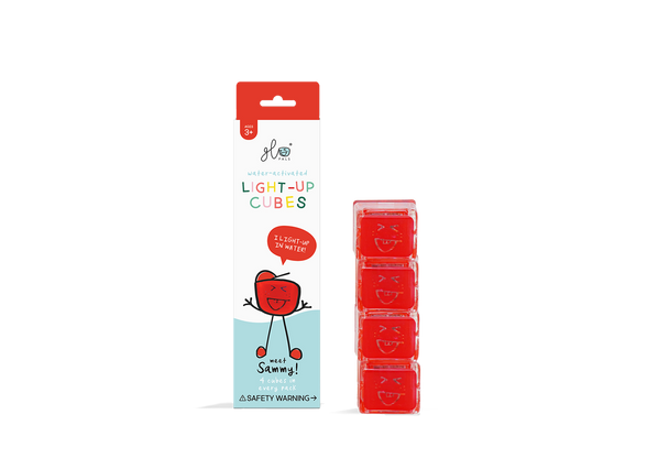 Liquid activated light up Glo Pal cubes- Red Sammy