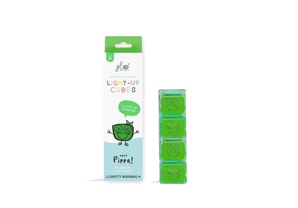 Liquid activated light up Glo Pal cubes- Green Pippa