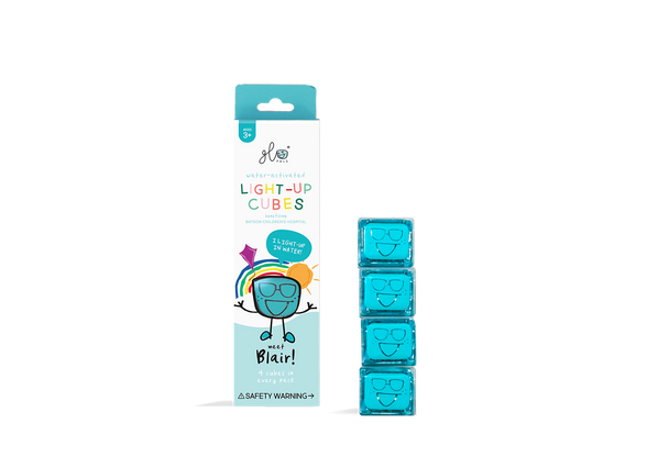 Liquid activated light up Glo Pal cubes- Turquoise Blair