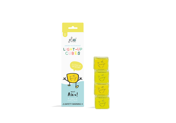 Liquid activated light up Glo Pal cubes- Yellow Alex
