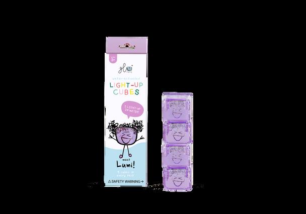 Liquid activated light up Glo Pal cubes- Purple Lumi