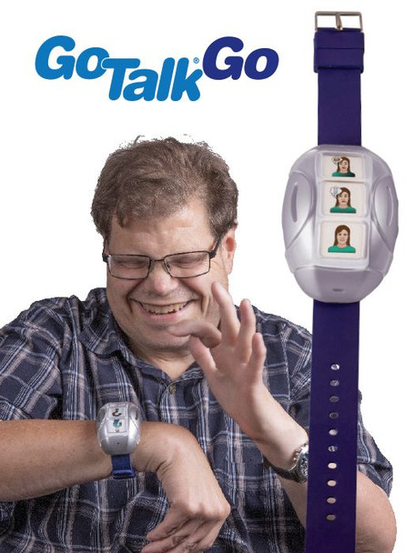 Man using GoTalk Go wearable communication device