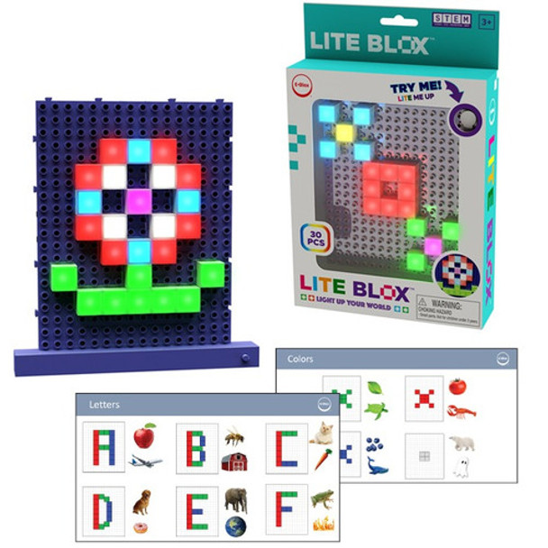 Use Lite Blox to make shapes, patterns, letters. Great for teaching colors, shapes, alphabet.