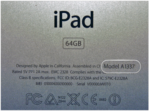 iPad model on back of ipad