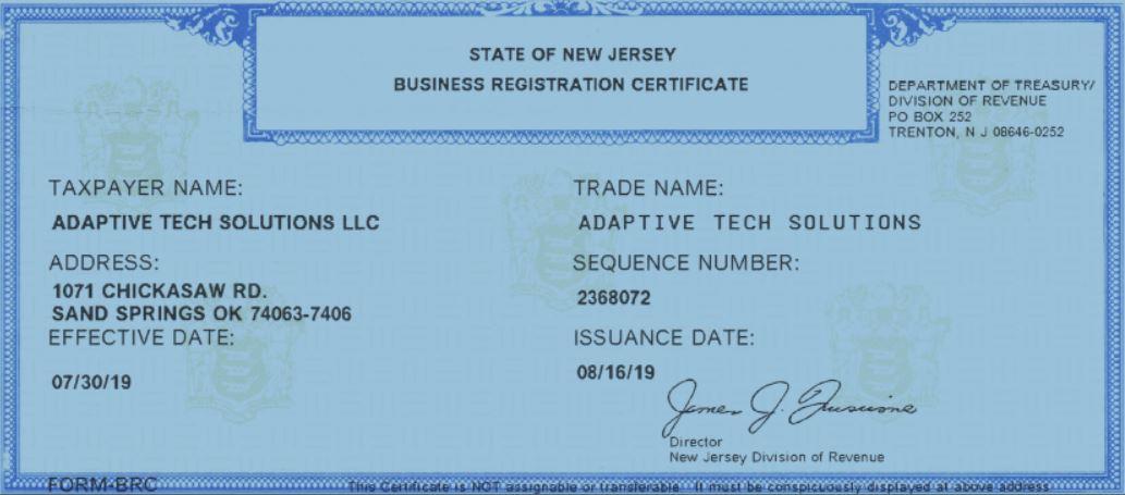 NJ Business Registration Certificate imge