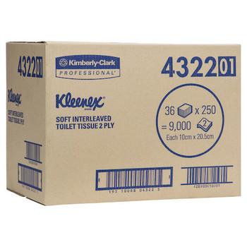 Kleenex Interleaved Toilet Tissue 2 Ply 36 Packs x 250 Sheets