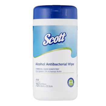 Scott (4100) Alcohol Antibacterial Wipe 12 Canisters x 70 Wipes