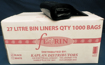 Florin 27 Litres Kitchen Tidy Bin Liners Black QTY 1000 Bags (FL27LBBL) Florin Products