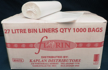 Florin 27 Litres Bin Liners White QTY 1000 Bags (FL27WLBL) Florin Products