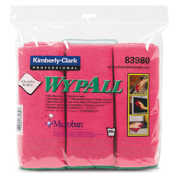 Wypall Microfibre Cloths MICROBAN Protection 24 Red Wipers (83980)