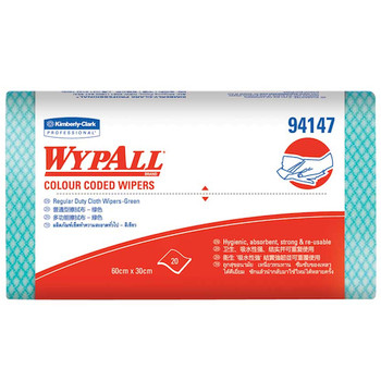 Wypall Green Regular Duty 12 Packs x 20 Wipers