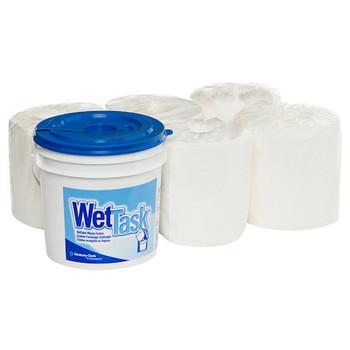 KIMTECH Wipers WETTASK System Hydroknit fabric 6 Rolls x 60 Sheets + Bucket (06001)