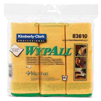 Wypall Microfibre Cloths MICROBAN Protection 24 Yellow Wipers (83610)