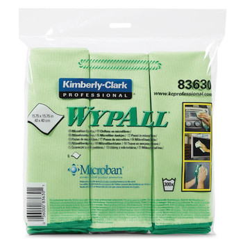Wypall Microfibre Cloths MICROBAN Protection 24 Green Wipers (83630)