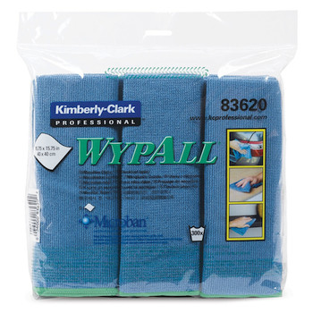 Wypall Microfibre Cloths MICROBAN Protection 24 Blue Wipers (83620)
