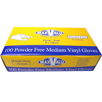 MaxValu Vinyl Gloves Powder Free Medium 10 Boxes x 100 Gloves