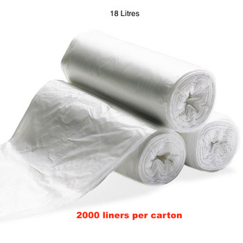 Florin 18 Litres Kitchen Tidy Bin Liners White QTY 2000 Bags (FL18WLBL)