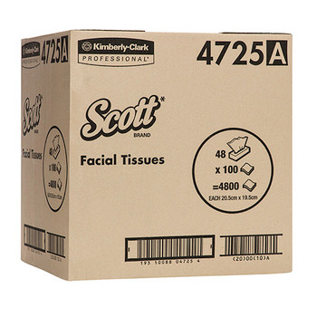 Scott Facial Tissue 2 Ply 48 Packs x 100 Sheets (4725)