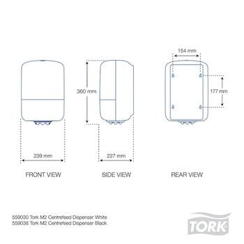 Tork Dispenser Wiper Centerfeed Roll Black (559038) dimensions