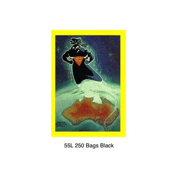 Super Tough Super Black 55L Garbage Bag 250 Bags (BL55SB)