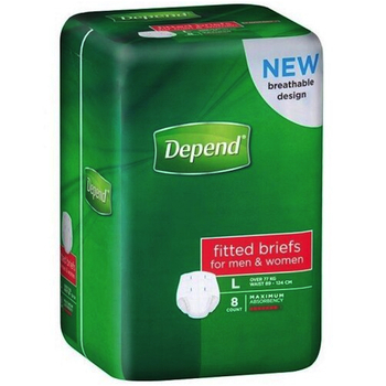 Depend Briefs Normal Large Waist 82-144cm 2600ml 1 Pack (DEP19744)