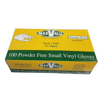 MaxValu Vinyl Gloves Powder Free Small 10 Boxes x 100 Gloves