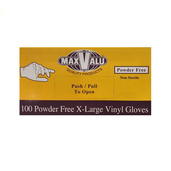 MaxValu Vinyl Gloves Powder Free Large 10 Boxes x 100 Gloves