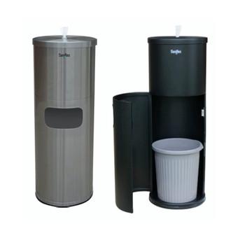 Saniflex Surface Wipe Dispenser With Door Stainless Steel/Black