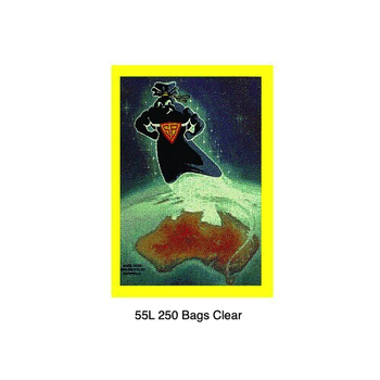Super Tough Super Black 55L Garbage Bag 250 Bags Clear (BL55SBCL)