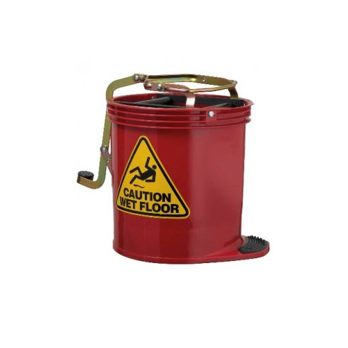 Red Wringer Mop Bucket 16 Litres with Metal Mechanism
