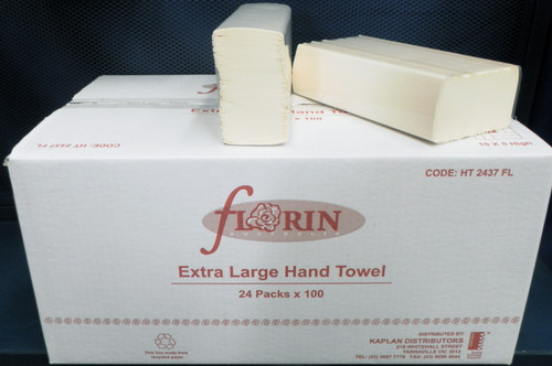 Florin Extra Large Hand Towel 24 Packs x 100 Towels (HT2437FL) Florin Products