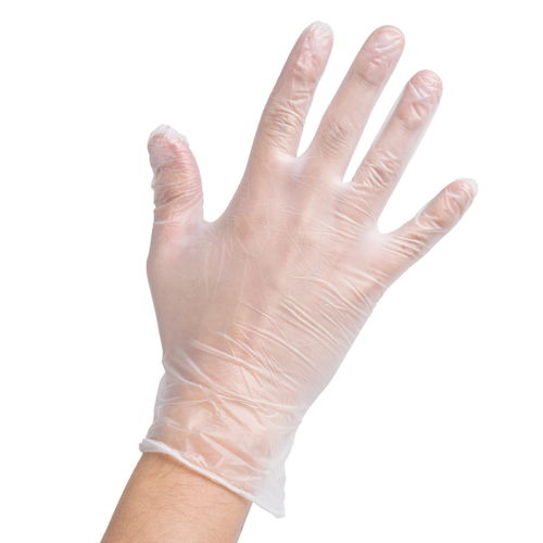 Clear Vinyl Powdered Disposable Gloves 10 Packs x 100 Gloves SMALL