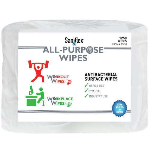 ALL PURPOSE ANTIBACTERIAL SURFACE WIPES 1250 WIPES x 2 BAGS ( SWB1250)