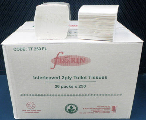 Green Florin Interleaved Toilet Tissue 2 Ply 36 Packs x 250 Sheets (GFLTT250) Florin Products
