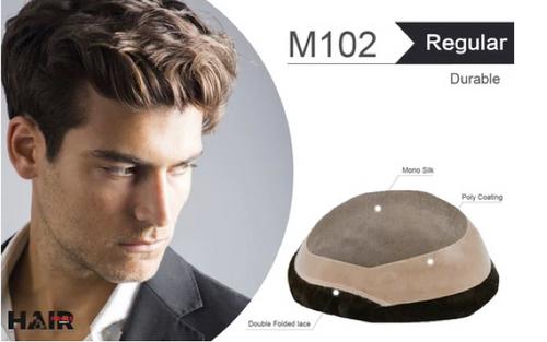 """Toupee M102 8""""x10"""" Mono Silk Top Lace"""