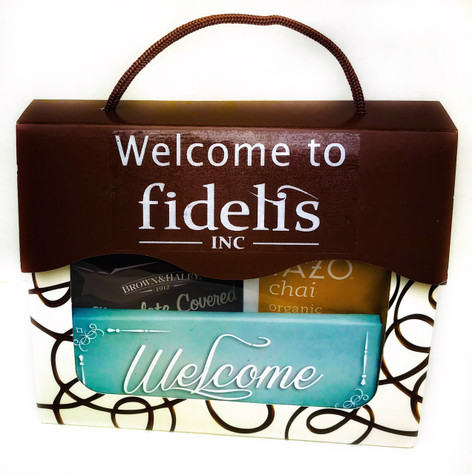 """A beautiful """"welcome"""" window tote filled with Northwest treats"""